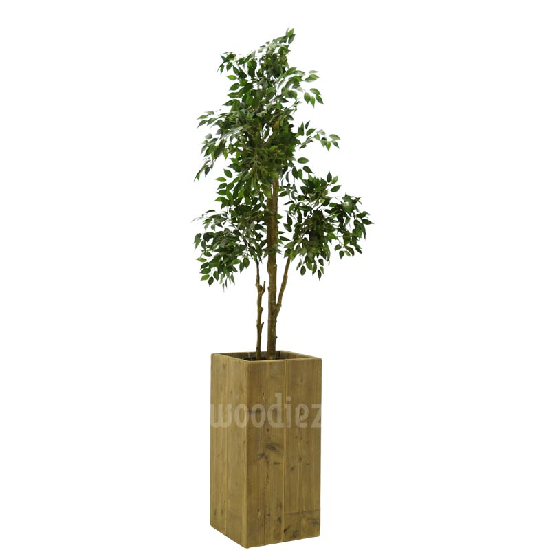 Ficus kunstplant huren inclusief plantenbak van steigerhout
