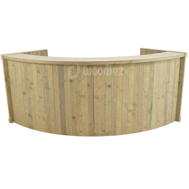 Kwart ronde balie of aanmeldbalie steigerhout