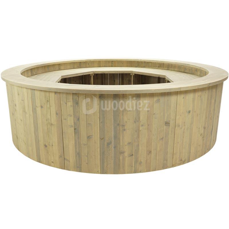 Ronde balie of aanmeldbalie van steigerhout