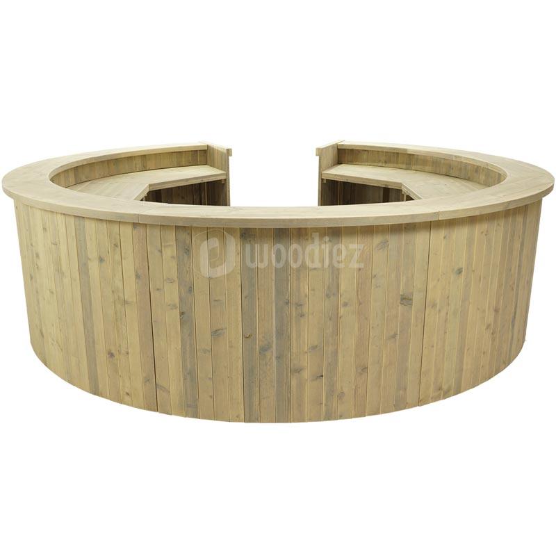 Ronde balie steigerhout huren met open deel