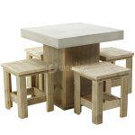 Steigerhout tafel beton met krukken