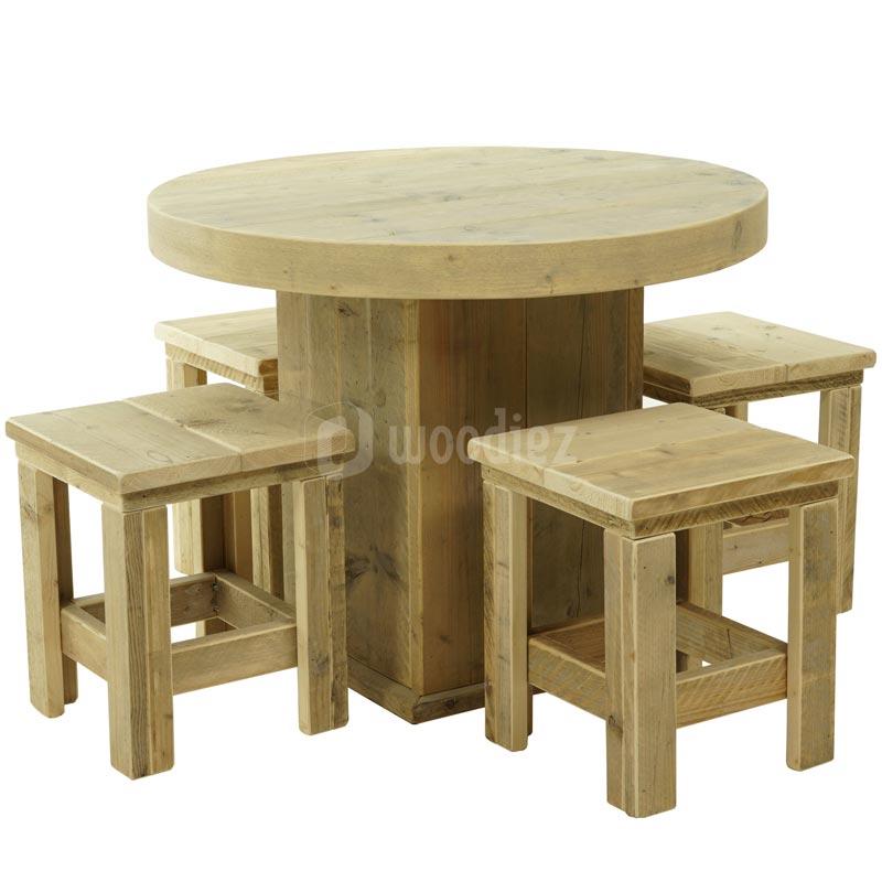 Steigerhout tafel rond met krukken