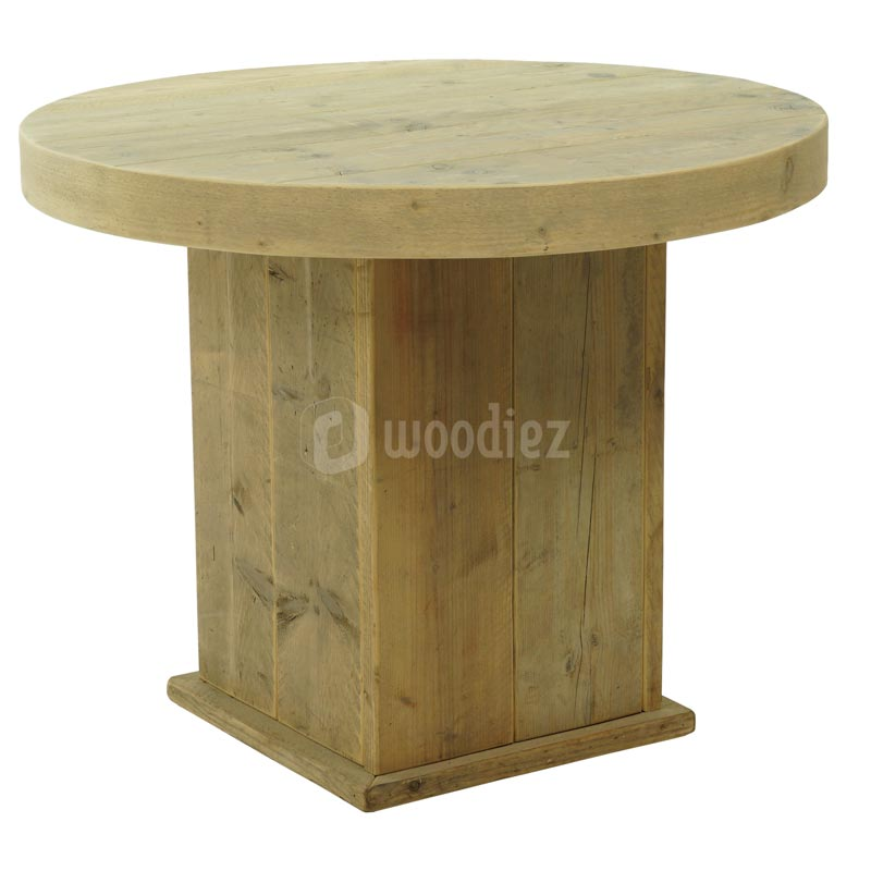 Ronde steigerhouten tafel huren