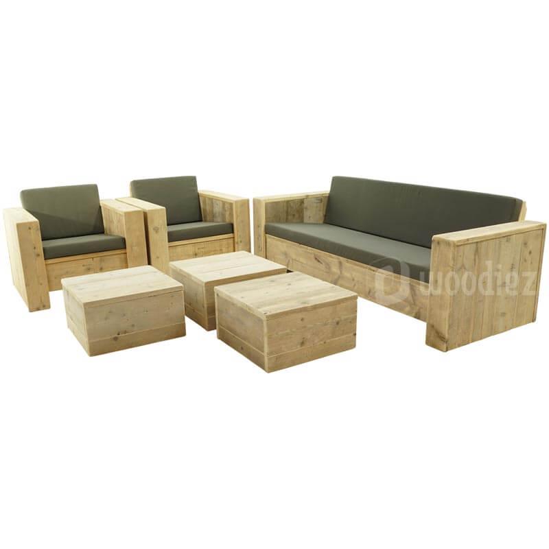 Steigerhouten loungemeubels huren met loungebank, loungestoelen en hockers