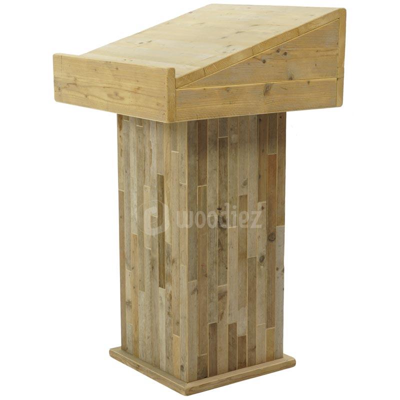 Unieke katheder van steigerhout huren voor een toespraak of bruiloft