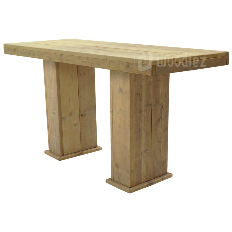 Grote bartafel van steigerhout met blokpoten huren