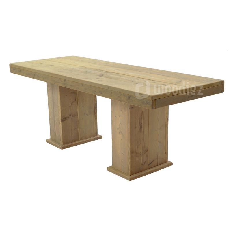 Grote steigerhouten tafel met blokpoten