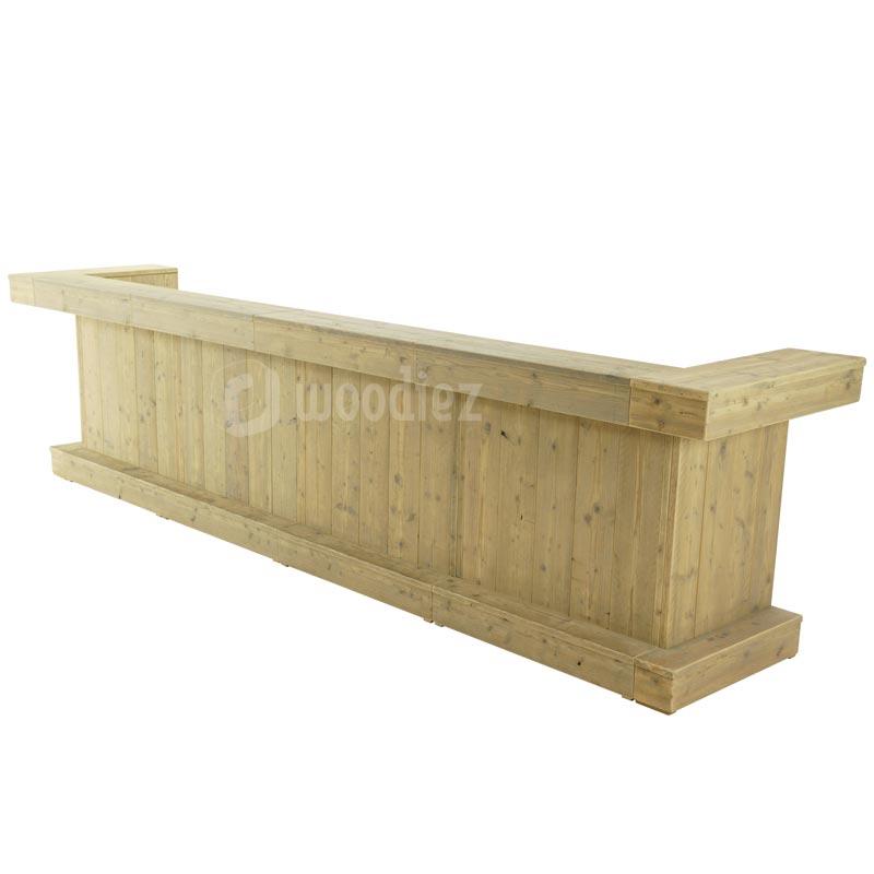 Lange steigerhouten balie huren voor een beurs of evenement