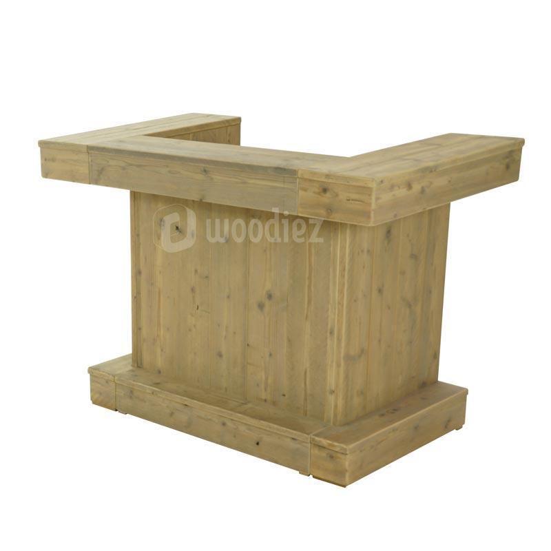 Robuuste kleine balie, ontvangstbalie of garderobe balie van steigerhout