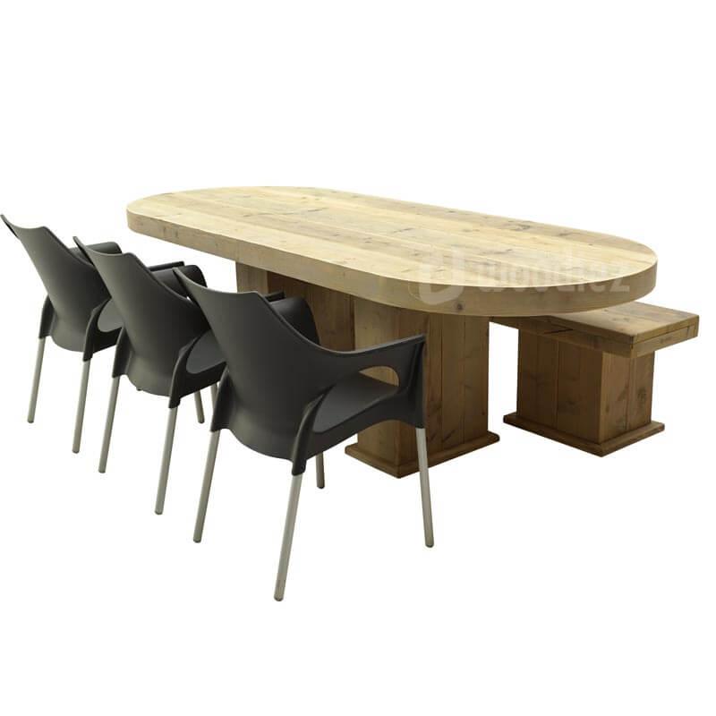 Steigerhouten dinertafel met afgeronde hoeken en bijpassende steigerhouten bank en designstoelen huren