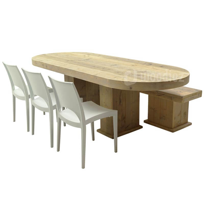 Steigerhouten tafel met afgerond blad huren inclusief steigerhouten bank en witte designstoelen