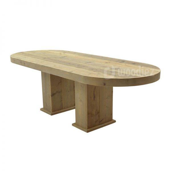 Steigerhouten tafel met afgeronde hoeken huren