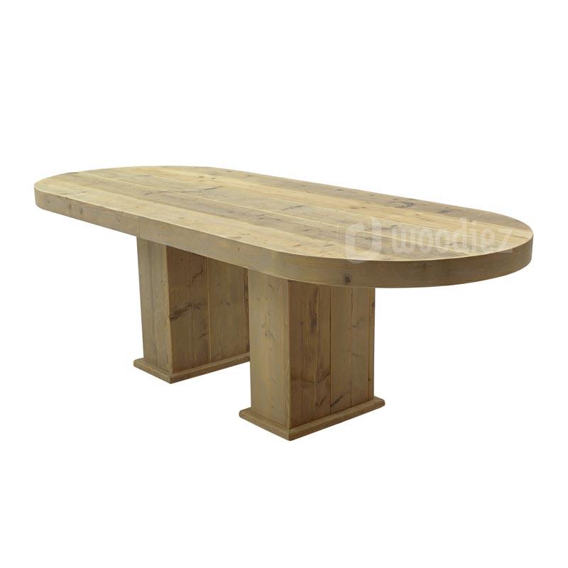 Steigerhouten diner tafel huren met afgeronde hoeken huren