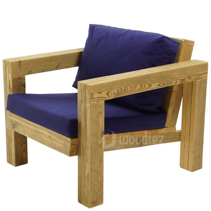 Steigerhouten design loungestoel met kussens huren
