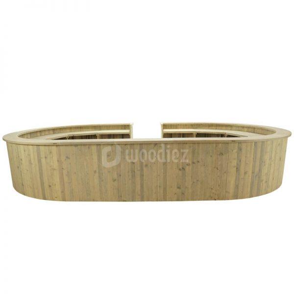 Grote ovale bar van steigerhout huren