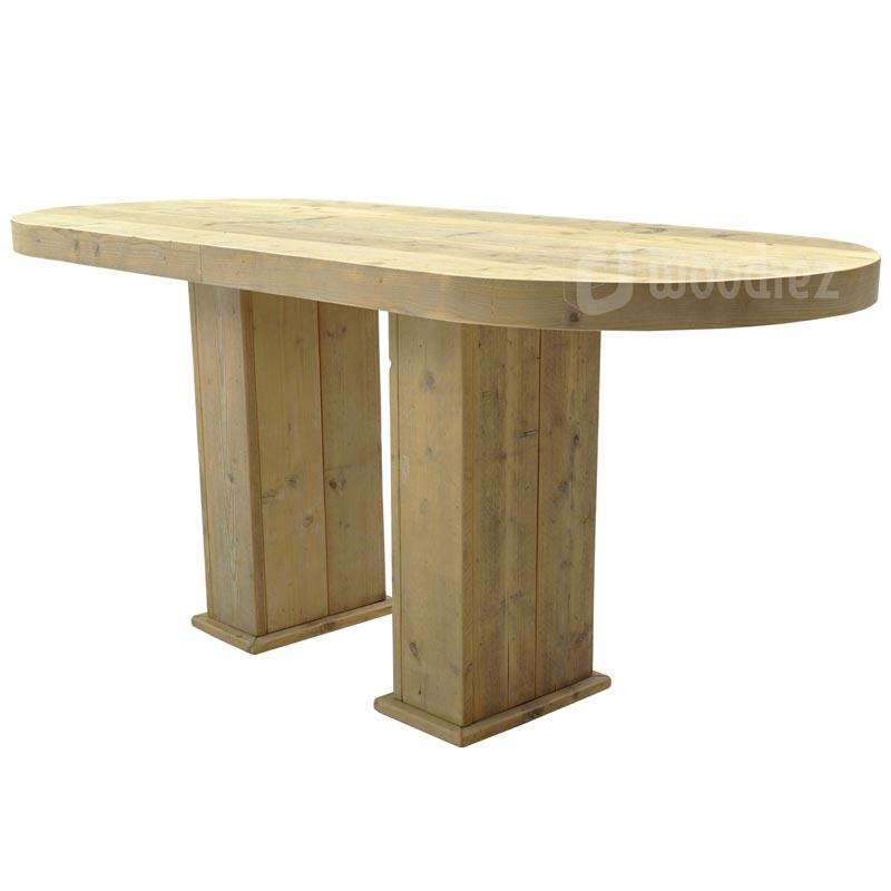 Grote bartafel van steigerhout met afgeronde hoeken