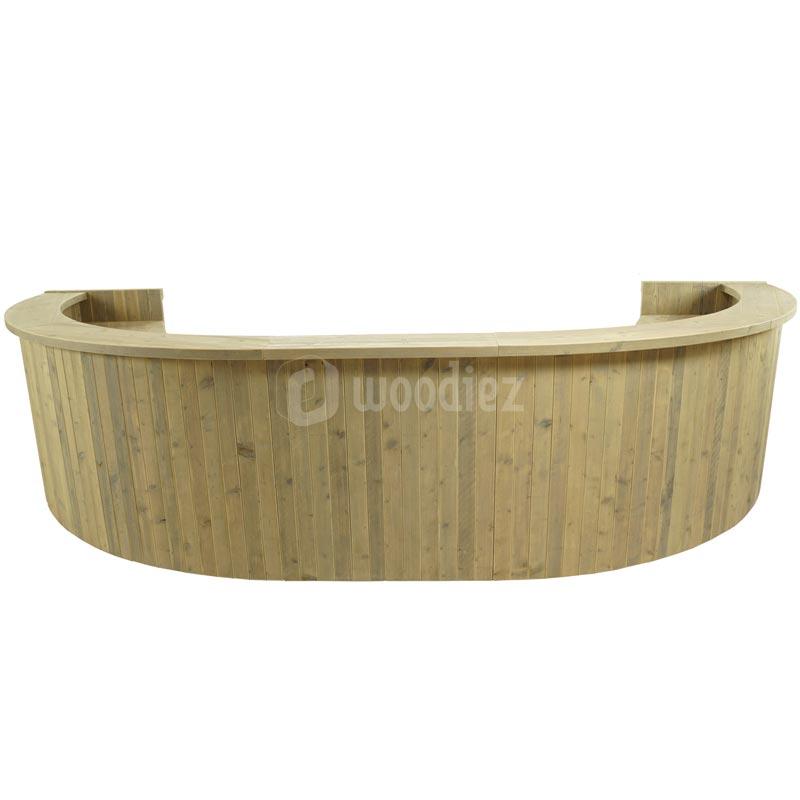 Half ovale bar van steigerhout huren