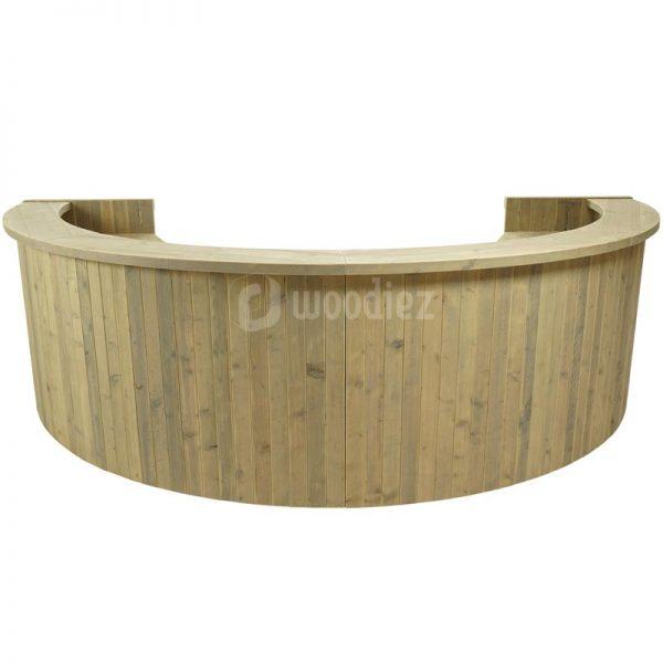 Half ronde bar huren van steigerhout