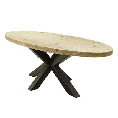 Ovale industriële tafel van steigerhout met opvallende stalen middenpoot en ovale tafelblad