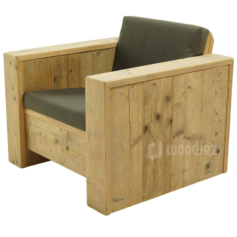 Steigerhouten loungestoel met antraciete weerbestendige kussens
