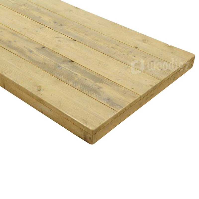 Robuust dik tafelblad van steigerhout huren