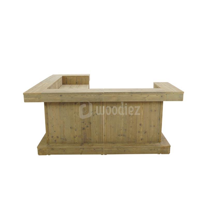 Kleine L-vorm bar van steigerhout huren voor je feest, evenement of bruiloft