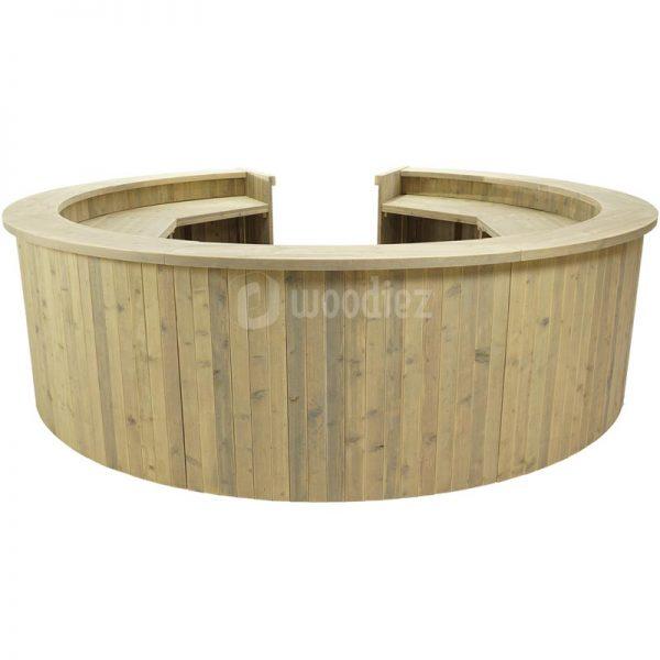 Ronde bar steigerhout met open deel huren