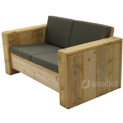 Tweepersoons steigerhouten loungebank met antraciete kussens