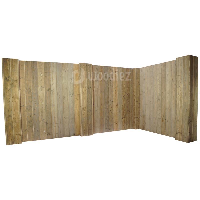 L-vorm robuuste achterwand steigerhout