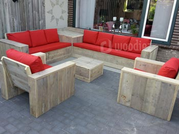Complete loungeset op maat met weerbestendige kussens