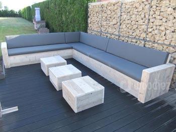 Grote hoekbank steigerhout L-vorm loungemeubilair kopen