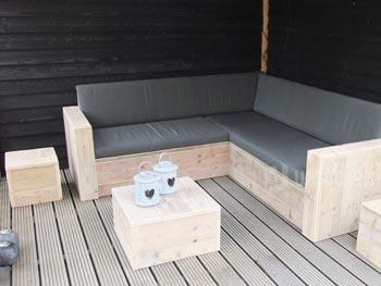 Hoekbank steigerhout kopen L-vorm met bijpassende hockers en sidetables