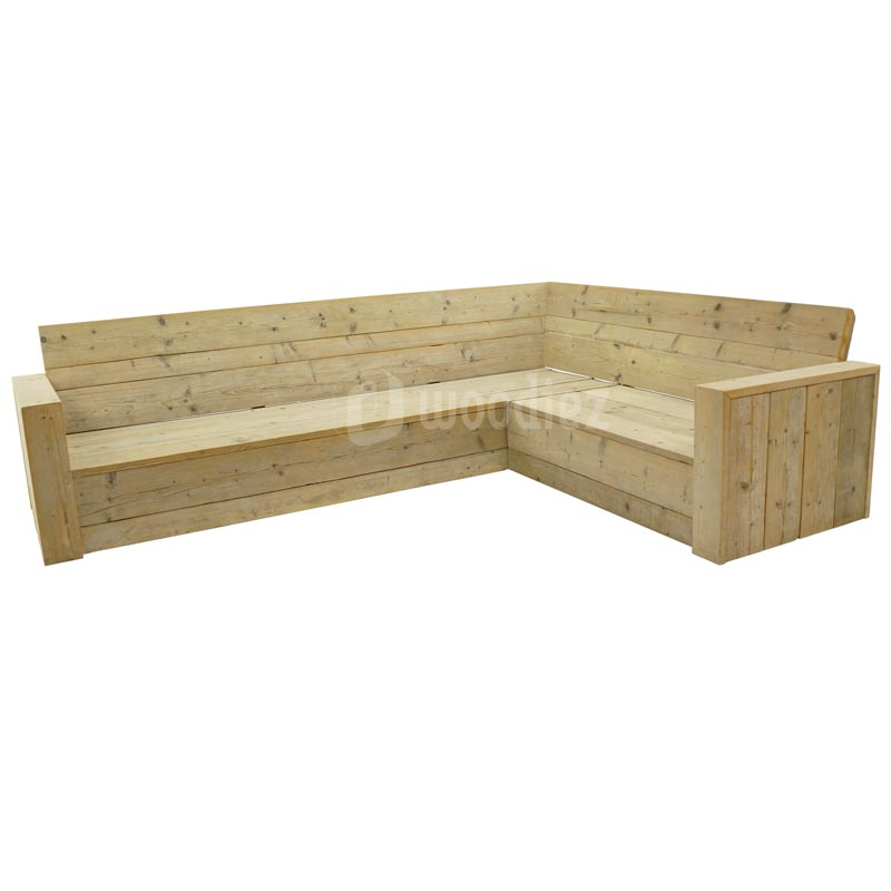 Luxe hoekbank steigerhout op maat gemaakt