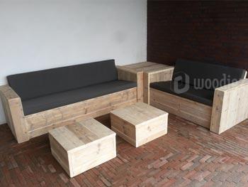 Moderne steigerhouten hoekbank met hoektafel en hockers diepe zit loungemeubels kopen