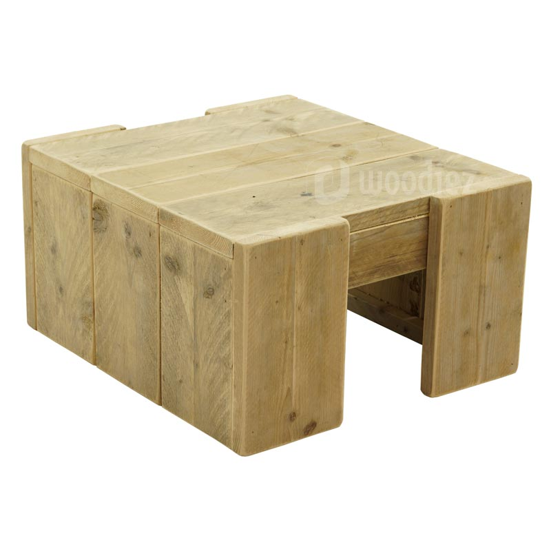 Robuuste steigerhouten salontafel op maat of steigerhouten sidetable op maat