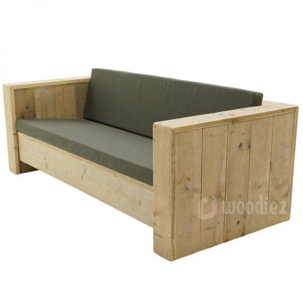 Robuuste steigerhouten loungebank met kussens op maat kopen