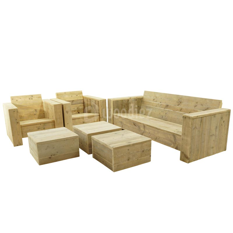 Robuuste steigerhouten loungeset op maat kopen