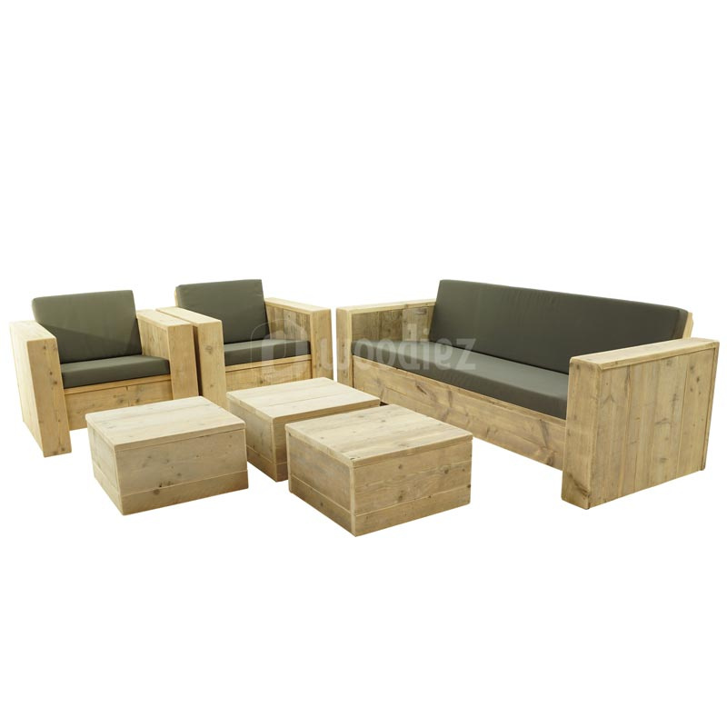 Robuuste steigerhouten loungeset met kussens op maat