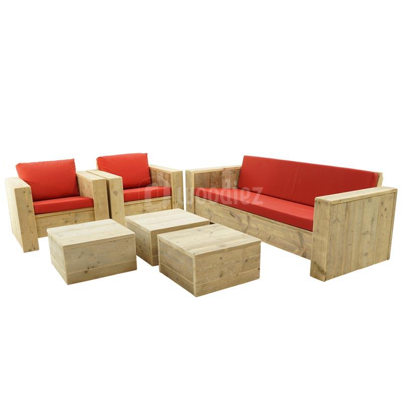 Robuuste steigerhouten loungeset op maat met rode kussens