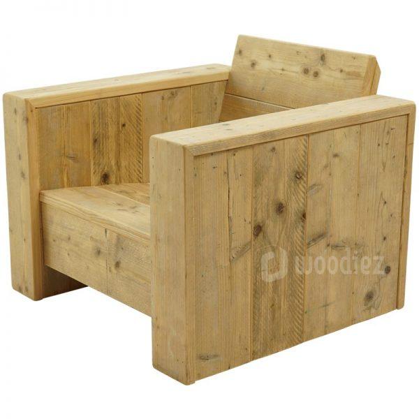 Robuuste steigerhouten loungestoel op maat