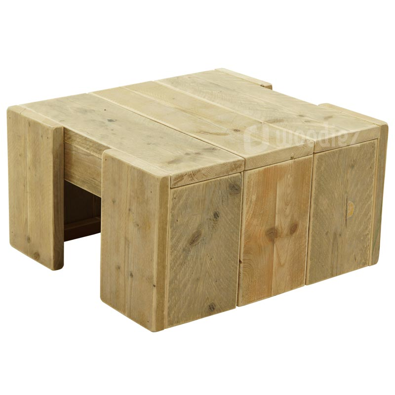 Robuuste steigerhouten salontafel op maat gemaakt woodiez for Steigerhout op maat