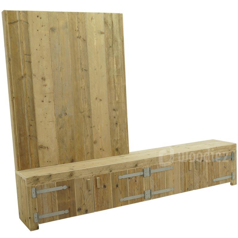 Nieuw Steigerhouten TV-meubel met achterwand op maat | Woodiez WJ-13