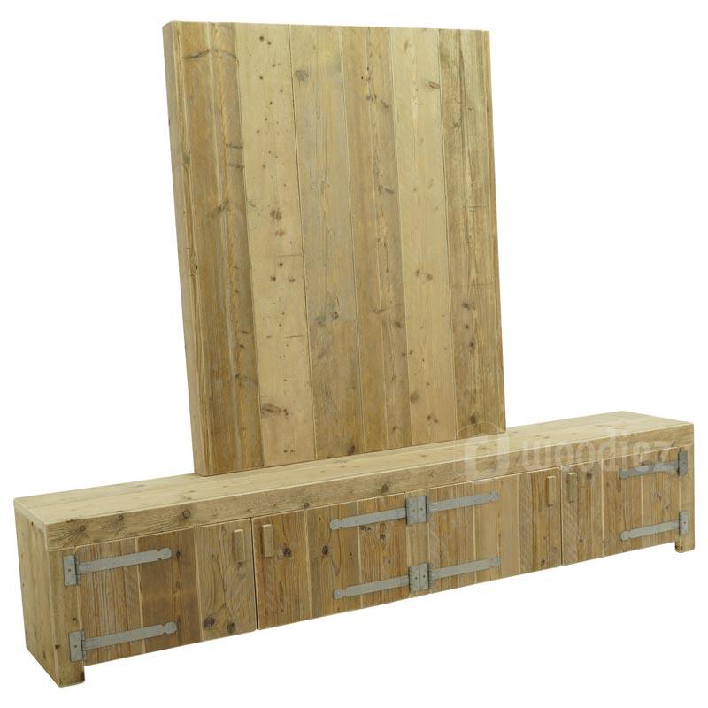 Steigerhouten TV-meubel met achterwand midden op maat gemaakt