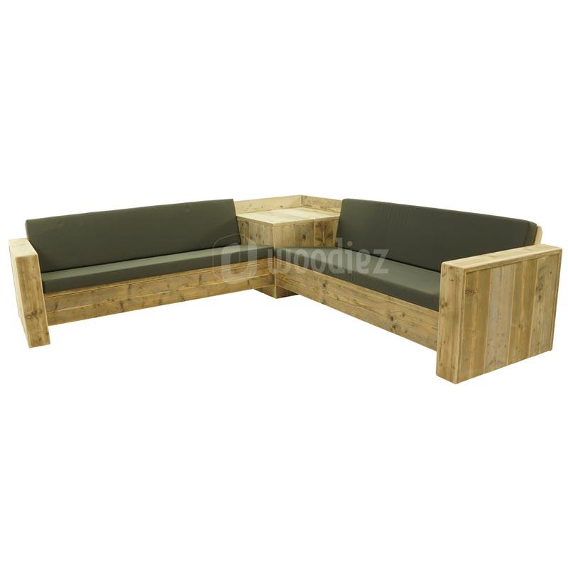 Steigerhouten loungebank met kussens op maat   Woodiez