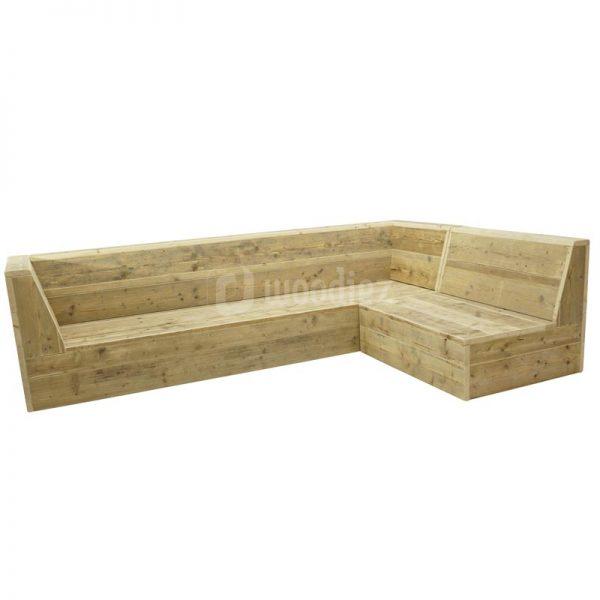 Steigerhouten loungebank met aanzetstuk op maat gemaakt