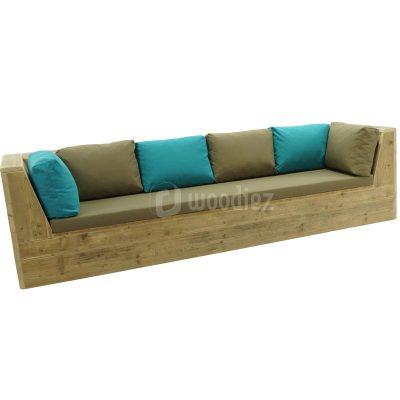 Steigerhouten loungebank met kussens op maat