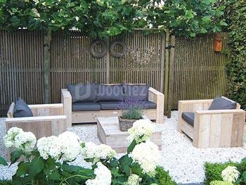 Steigerhouten loungeset kopen met loungestoelen, loungebank en hocker op maat