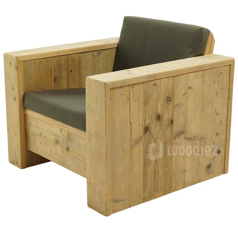 Steigerhouten loungestoel met kussens op maat