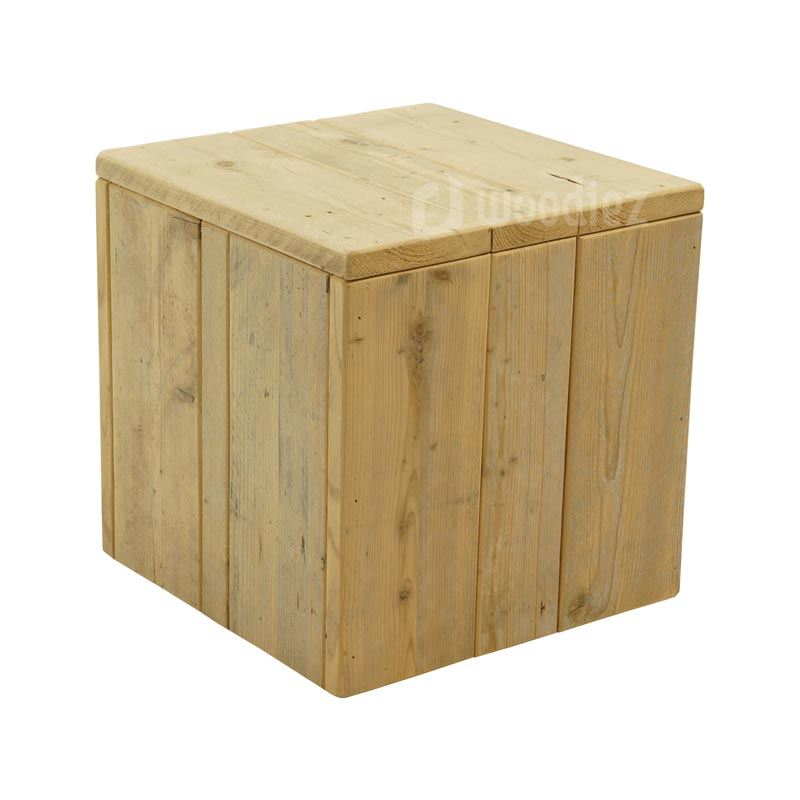Steigerhouten sidetable of salontafel op maat hocker