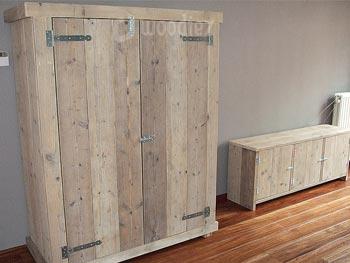 Buffetkast steigerhout met scharnieren en bijpassend dressoir op maat
